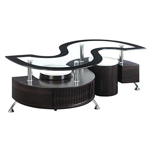 Coaster 720218-CO Coffee Table with Stools, In Cappuccino (Coffee With Nesting Stools Table)