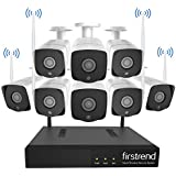 Security Camera System Wireless, Firstrend Security Camera System with 8pcs HD Security Camera and 2TB Hard Drive Pre-installed, P2P Wireless Security System for Indoor and Outdoor Use