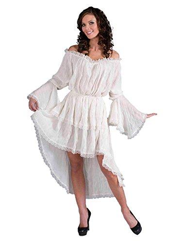 Forum Novelties Women's Ruffled Lace Costume Dress, White, Standard