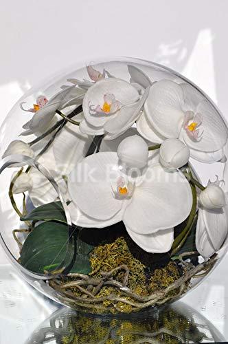 Silk Blooms Ltd - Orquídea Artificial de Color Blanco con Toque Fresco y pecera de Cristal, arreglo de Flores con Musgo y Hojas: Amazon.es: Hogar