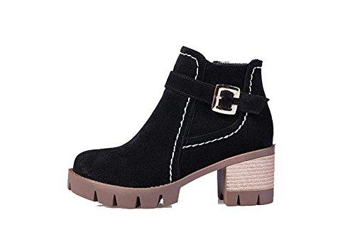 VogueZone009 Damen Mattglasbirne Rein Reißverschluss Blockabsatz Stiefel mit Schleife, Schwarz, 43