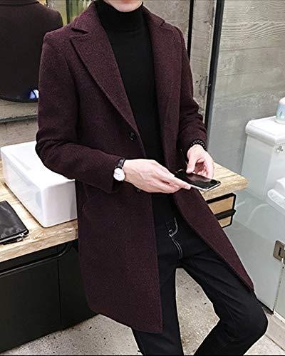 Giacca A Trench Casuali Lunga Collo Jacket Bodeaux Cappotto Parka Revers Manica Signori Uomo Penggenga wTtqII