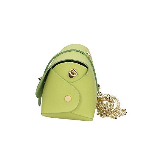 Vera Borsetta Verde 18x11x9 Made Chiaro Aren Donna Tracolla Bag Cm Pelle A Da Shoulder Italy In xEq6w4