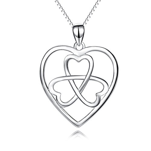 Sterling Silver Knot Clasp (YFN 925 Sterling Silver Irish Celtic Knot Clover Eternal Love Heart Necklace for Women(Polished Celtic Knot))