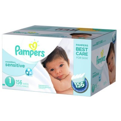 Branded Pampers Swaddlers Sensitive Diapers - Diaper Size 1 - 156 Ct. ( Weight 8- 14 Lb.) (Bulk Qty at Whoesale Price, Genuine & Soft Baby diaper)