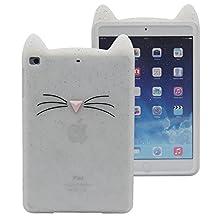 Tsmine iPad Mini Case for Apple iPad Mini 1/2/3 - Shockproof Protective Silicone Elastic Cat Cartoon Case Cover for Apple iPad Mini 1 (2012) / iPad Mini 2 (2013) / iPad Mini 3 (2014),White