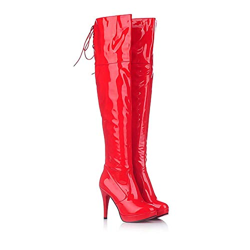 (Witch-House Women Sexy Patent Leather high Heels Pole Dancing Shoes Ladies Black lace up Thigh high Boots,red)