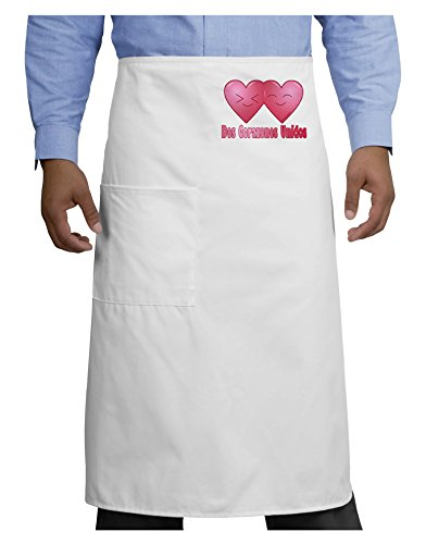 TooLoud Dos Corazones Unidos Design Adult Bistro Apron - White - One-Size by TooLoud