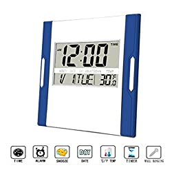 BESTWYA Digital Wall Clock,Silent Alarm Clock with Large LCD Screen with Time/Alarm/Snooze/Month/Date/Weekday/Indoor Temperature (Dark Blue&Silver)