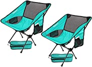 2 Pack Portable Camping Chairs Lightweight Folding Backpacking Chair Compact & Heavy Duty for Camp, Backpa