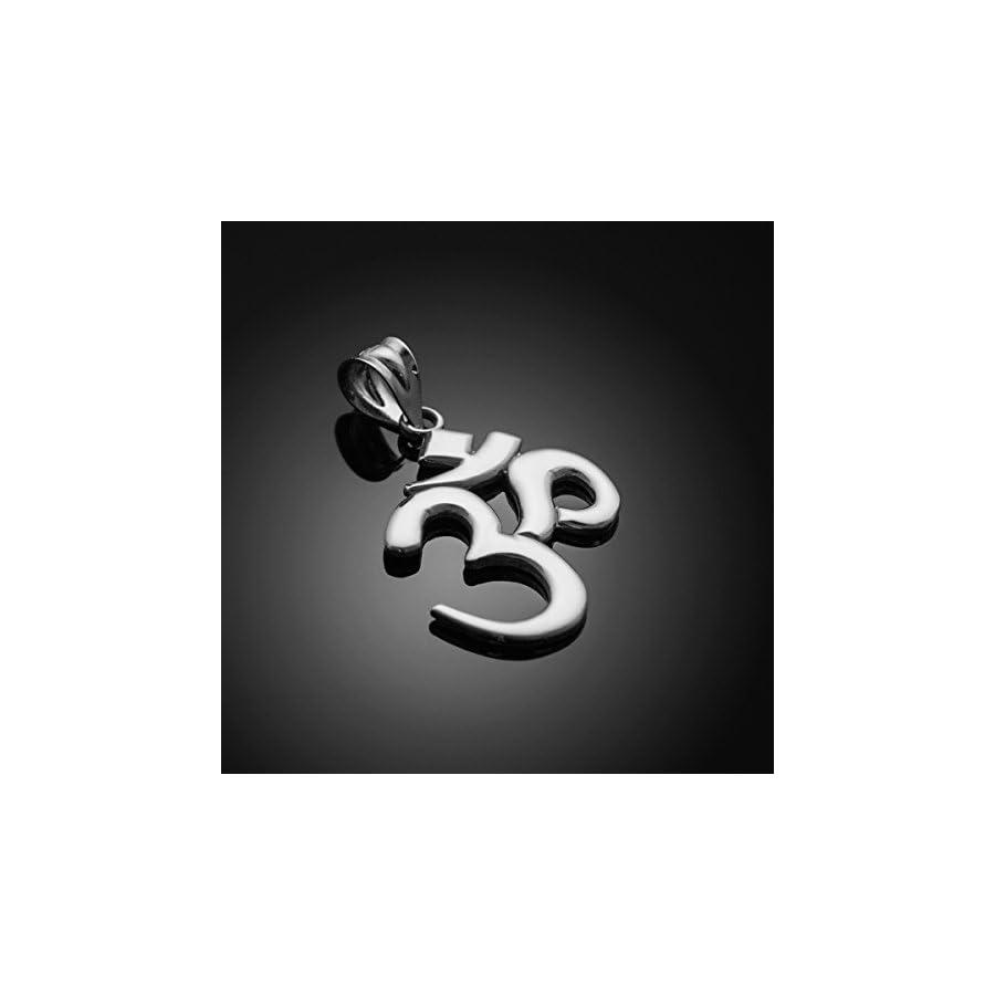 Solid 925 Sterling Silver Hindu Meditation Charm Yoga Om (Aum) Pendant