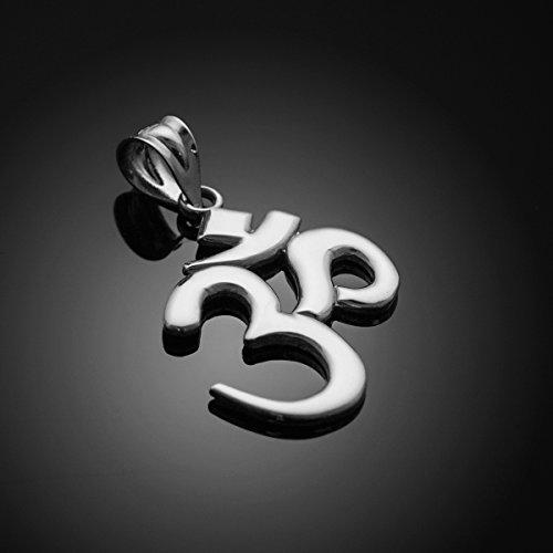 """Solid 925 Sterling Silver Hindu Meditation Charm Yoga """"Om"""" (Aum) Pendant"""