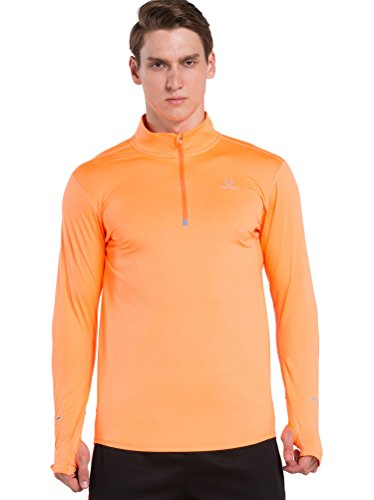Red Plume Mens Cycling Skin Long Sleeve Half Collar Under Base Layer Shirt Inner /4 colors (XL, orange) (Sueded Rugby Shirt)