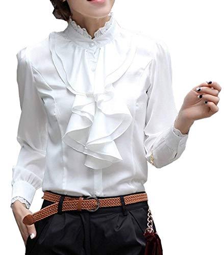 Elgante Unicolore Blanc Femme Festive Mode Printemps Dame Debout Tops Automne Blouse Affaires Chemisier Dame Office Manches Slim avec Chemise Longues Haut Blouse Volants Battercake Col Casual Fit HU1xFqwn