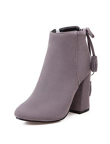 XZZ/ Damen-Stiefel-Kleid-Kunstleder-Blockabsatz-Modische Stiefel-Schwarz / Grau / Beige gray-us6.5-7 / eu37 / uk4.5-5 / cn37