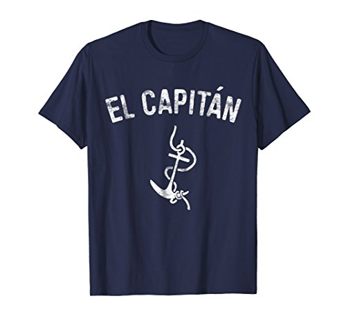 b11915c606f748 Mens El Capitan T-Shirt Anchor Funny Captain Skipper Gift Shirt XL Navy