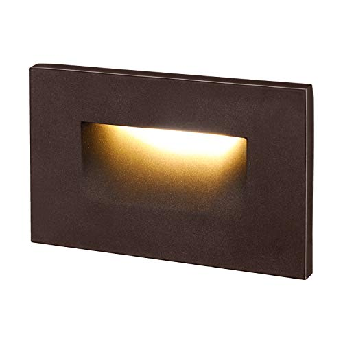 LEONLITE 120V Dimmable LED Step Light, 3.5W 3000K Warm White, 110lm High CRI 90, ETL Listed Indoor Outdoor Stair Light, Waterproof Staircase Light, 5-Year Warranty, Oil Rubbed Bronze