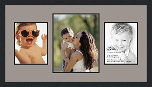 ArtToFrames Collage Photo Frame Double Mat with 1 - 11x14 and 2 - 8x10 Openings and Satin Black Frame