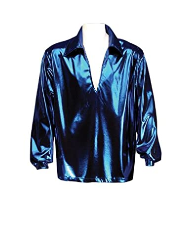 Men's Vintage Style Shirts Mens Disco Shirt Theatrical Quality Blue $69.99 AT vintagedancer.com