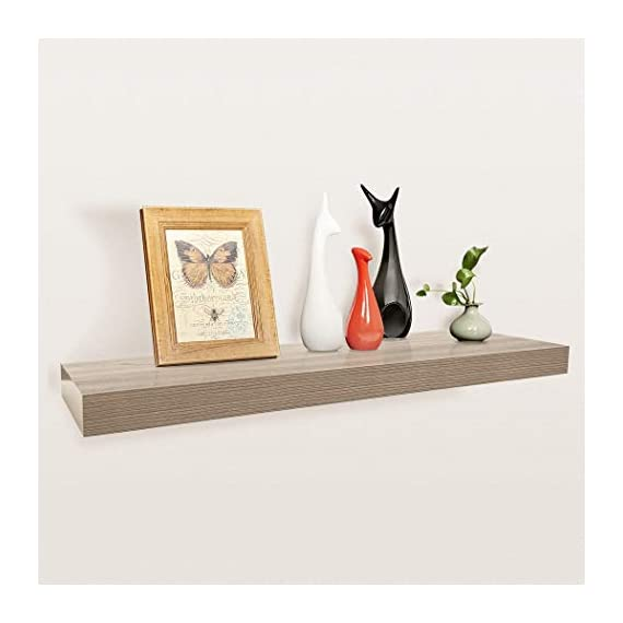 "Homewell Wood Floating Shelves for Home Decoration, 36""x9.25""x2"", Grey - Material: MDF, Size: 36"" (L) x 9.25"" (W) x 2"" (T), net weights: 5.67lbs Robust metal mounting bracket rod (diameter: 3/4"") and metal anchor can hold the shelf panel steady. No visible screw or support bracket, make the shelf appear to be floating. - wall-shelves, living-room-furniture, living-room - 41nbcLJot4L. SS570  -"