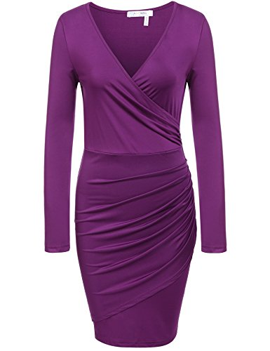 ANGVNS Women Long Sleeve Cross Over Pleated Bodycon Dress, Purple, XXL ()