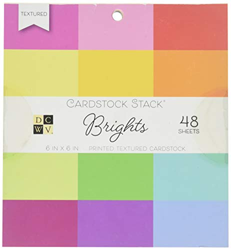 DCWV PS-005-00549 Card Stock 6X6 Brights Printed Textured Stack (Textured View Cardstock)