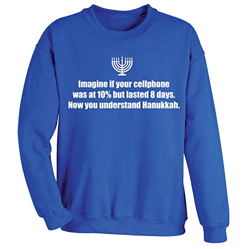 WHAT ON EARTH Unisex The Miracle of Hanukkah Sweatshirt - Blue Sweater - Small