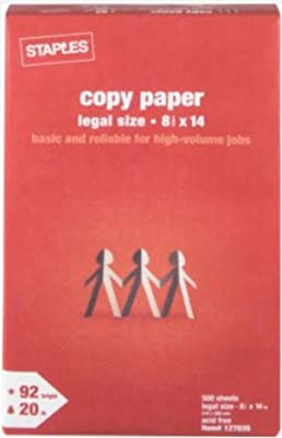 Staples Legal Size Copy Laser Inkjet Printer Paper, 8 1/2 x 14 inch, 92 Bright White, 20 lb, Ream, 500 Total Sheets (127035)