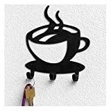 Spectrum Black Steel Coffee Time Wall Mounted 3 Hook Key Rack
