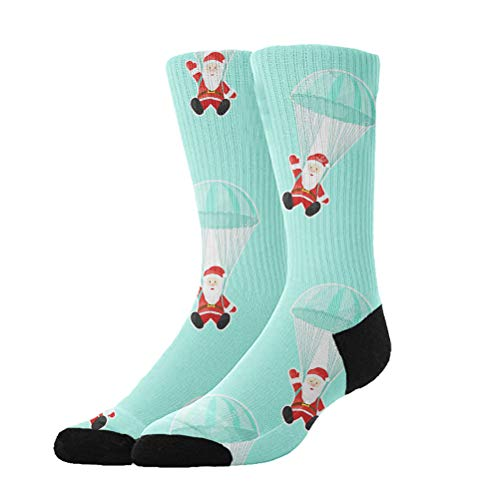 Jinkela Womens Thigh High Cotton Socks Santa Claus with a Parachute Tube Stockings Above Knee Cosplay Socks