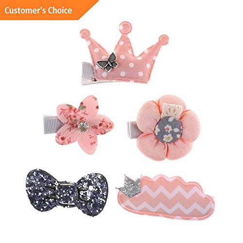 (Werrox 5pcs/set Kids Infant Hairpin Baby Girl Hair Bow Flower Mini Barrettes Accessorie | Model HRPN - 2596 |)