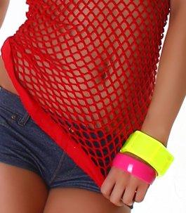 Elastisches Damen Microfiber Seamless Netztop - Red - Größe 36