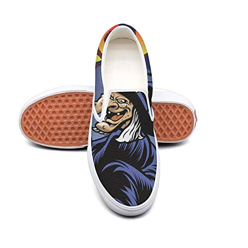 Sernfinjdr Women's Halloween Greeting Greeting Halloween Old Witch Fashion Casual Canvas Slip on Shoes Cool Golf Sneakers B07H5JV6DR Shoes d723dc