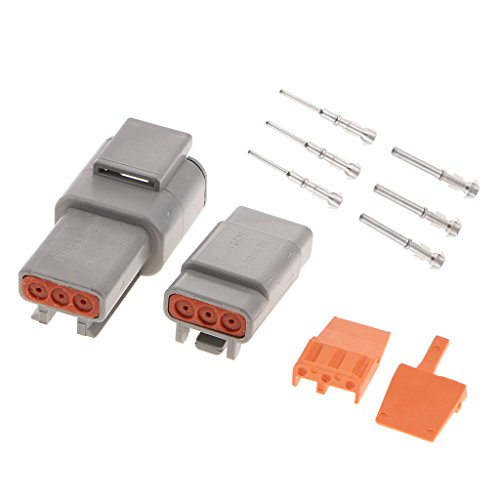 D DOLITY 1 Set Car 3-Pins Sealed Electrical Wire Connector Plug with Terminals: