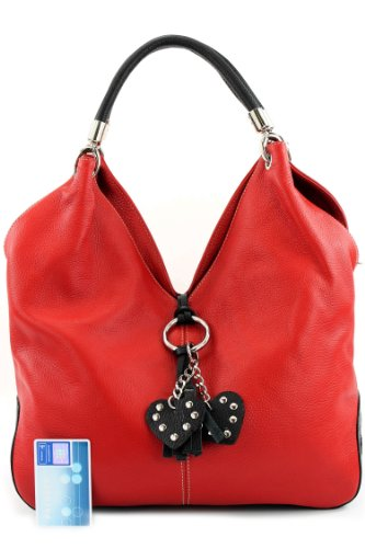 para al mujer Bolso Rot hombro Schwarz de Italy Made cuero EYq4vv