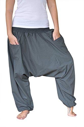 virblatt Haremshose einfarbig mit tiefem Schritt Unisex Einheitsgröße S - L Aladinhose mit Reißverschluss an den Taschen - Unüberlegt
