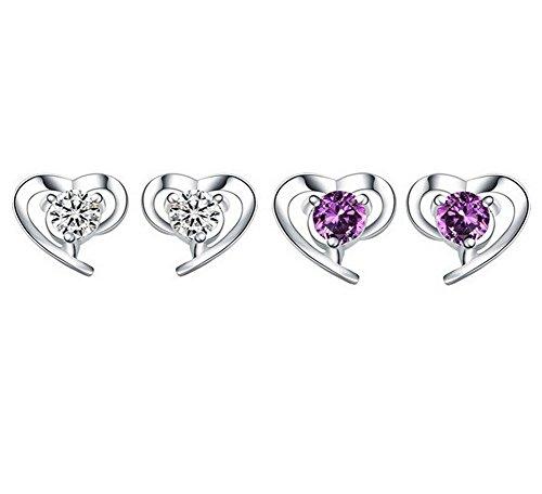 Alvade Love Purple zircon Earrings, Elegant Silver-Plated Stud Earrings Girl Jewelry by Alvade (Image #4)