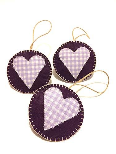 - Lavender Fields Cote d'azur Decoration Lilac Gingham Hanging Felt Tree Ornaments for Rustic Decor