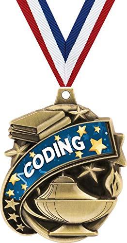 クラウン賞 コーディングメダル 2インチ Kudos Coding STEM教育賞 メダル ゴールド B07GJXBT9Y  50