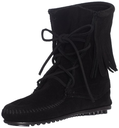 Minnetonka Women's Tramper Ankle Hi Boot,Black,7 M US - Hi Fringe Boot