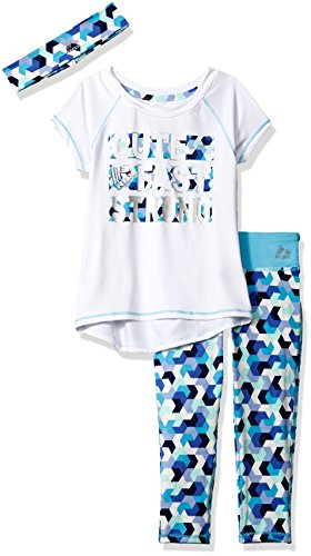 RBX Little Girls' 3pc Active Top, Capri, and Headband, White, L(6X) (Girls Top)