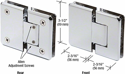 Polished Chrome Pinnacle 380 Series Adjustable 180 Degree Glass-to-Glass Hinge