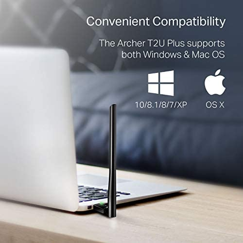 TP-Link AC600 USB WiFi Adapter for PC (Archer T2U Plus)- Wireless Network Adapter for Desktop with 2.4GHz, 5GHz High Gain Dual Band 5dBi Antenna, Supports Windows 10/8.1/8/7/XP, Mac OS 10.9-10.14