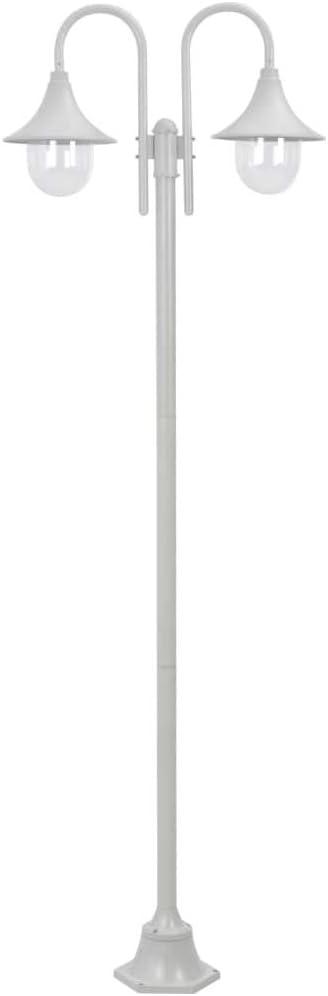 vidaXL Farolas de Jardín con 2 Luces Aluminio Blanca 220 cm ...