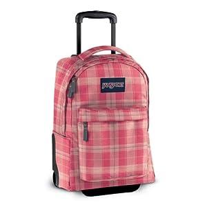 Jansport Rolling Backpacks for Girls - Pink Prep / Vanilla Ice White Reno Plaid
