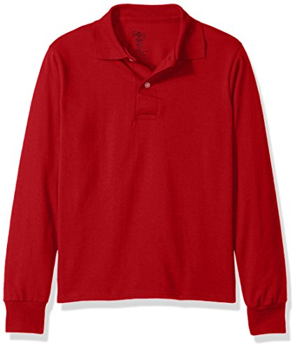 Jerzees Boys' Big Spot Shield Long Sleeve Polo Sport Shirt, True red, Large