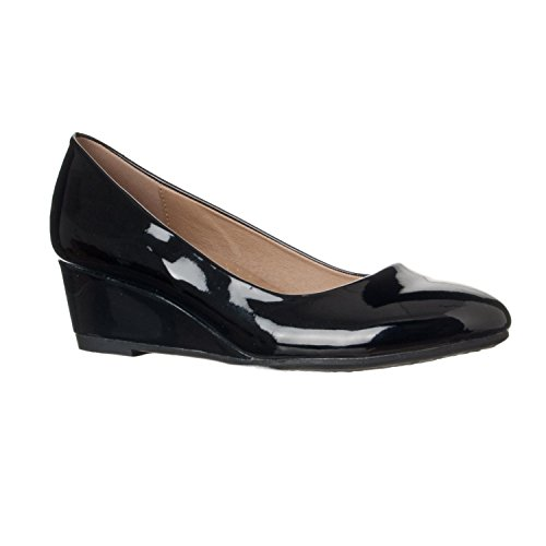 Riverberry Women's Alice Low-Height Round Toe Wedge Pumps, Black Patent, ()