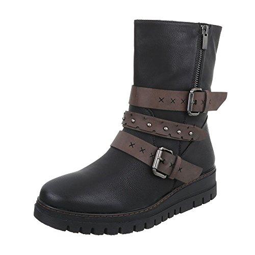 Ital-Design Women's Boots Flat Cowboy & Biker Ankle Boots at Black