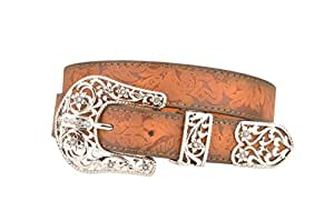 Womens Brown Western Floral Leather Belt with Three Piece Filigree Buckle (M)
