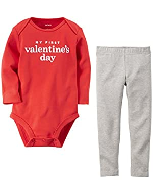 Baby Girls My First Valentine's Day Bodysuit Pant Set